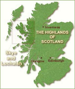 Map of Scotland showing the Loch Duich area